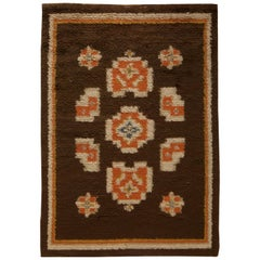 Midcentury Swedish Brown, Orange and Blue Pile Rug