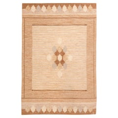 Midcentury Swedish Brown Rug by Ingegerd Silow, Woven Signature to Edge 'IS'