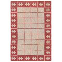 Midcentury Swedish Carmine and Off-White Flat-Weave Wool Rug