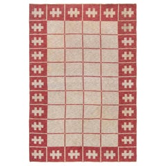 Midcentury Swedish Carmine and Off-White Flat-Weave Wool Rug