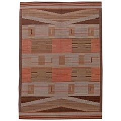 Midcentury Swedish Chocolate brown, Sunny Red and Pink Flat-Weave Wool Rug