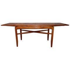 Midcentury Swedish Coffee Table in Birch with Extendable Top