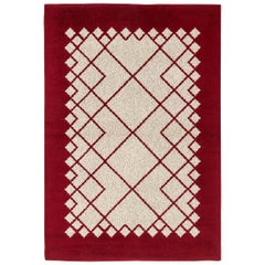 Midcentury Swedish Deep Burgundy and White Double Sided Flat-Weave Wool Rug