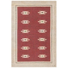 Midcentury Swedish Deep Burgundy and Beige Flat-Weave Wool Rug