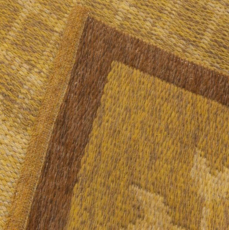 Hand-Knotted Midcentury Swedish Double-Sided Brown Flat-Weave Rug For Sale