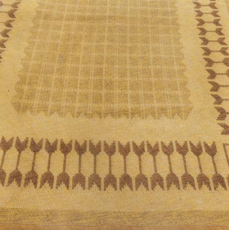20th Century Midcentury Swedish Double-Sided Brown Flat-Weave Rug For Sale