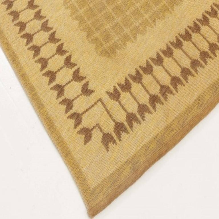 Wool Midcentury Swedish Double-Sided Brown Flat-Weave Rug For Sale