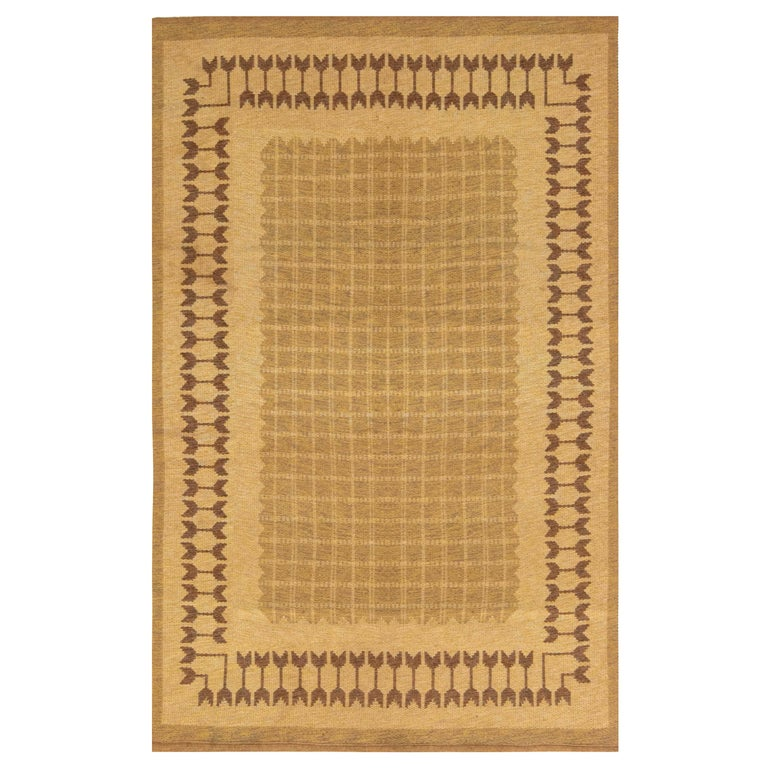 Midcentury Swedish Double-Sided Brown Flat-Weave Rug For Sale