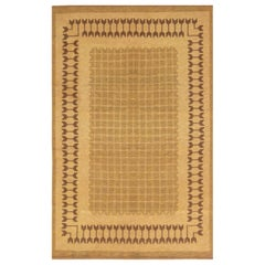 Midcentury Swedish Double-Sided Brown Flat-Weave Rug