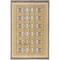 Midcentury Swedish Double Sided Flat-Weave Rug in Ivory, Amber, and Grey