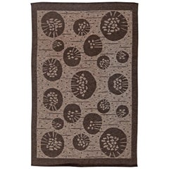 Midcentury Swedish Double Sided Flat-Weave Wool Rug by Orsa in Brown and Gray