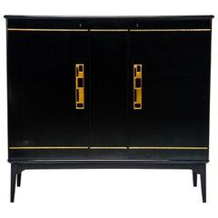 Midcentury Swedish Ebonized Two-Door Cabinet with New Brass Hardware