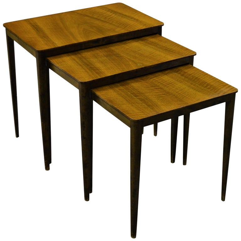 Midcentury Swedish Flame Birch Nesting Tables For Sale