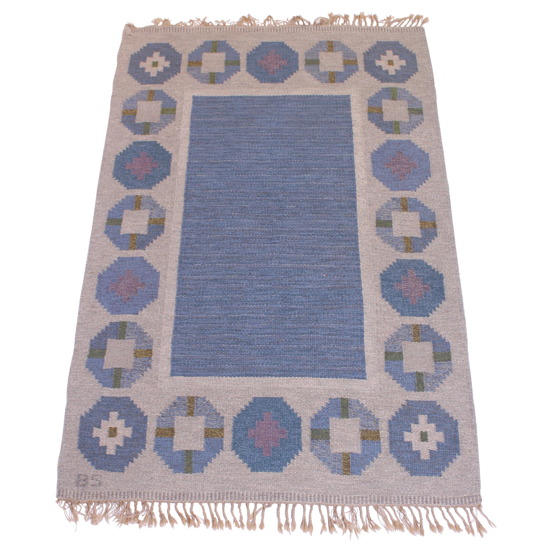 Midcentury Swedish Flat-Weave Carpet Attributed to Birgitta Södergren, 1950s
