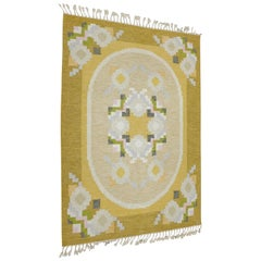 Midcentury Swedish Flat-Weave Carpet by Ingegerd Silow, 1950s