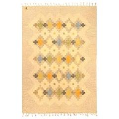 Midcentury Swedish Flat-Weave Carpet in Green, Orange, Blue, Golden Yellow & Tan