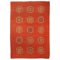 Midcentury Swedish Flat-Weave Carpet in Red, Blue, Yellow, Beige and Brown