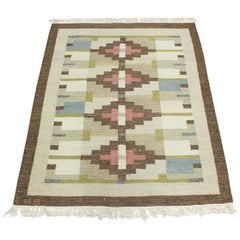 Midcentury Swedish Flat-Weave Carpet with Geometrical Patterns Signed GS, 1950s
