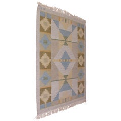 "Midcentury Swedish Flat Weave ""Röllakan"" Carpet Signed SH"