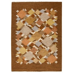 Midcentury Swedish Flat-Weave Rug by Ingegerd Silow in Brown, Beige, Gray & Blue