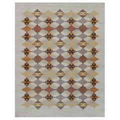 Midcentury Swedish Flat-Weave Rug by Judith Johanson in Beige, Brown, Gold, Gray