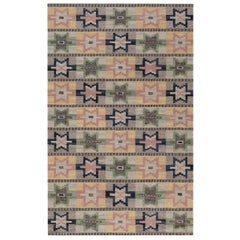 Midcentury Swedish Flat-Weave Rug in Green, Pink, Amber, Blue, and Grey