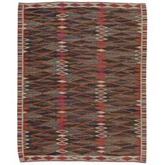 Midcentury Swedish Flat-Weave Rug in Red, Brown, Blue and White