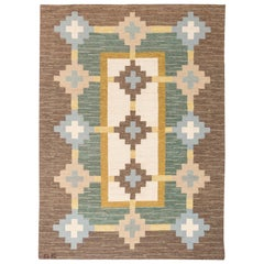 Midcentury Swedish Flat-Weave Rug in White, Cream, Amber, Green, Grey, and Brown