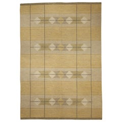 Midcentury Swedish Flat-Weave Rug in Yellow, Brown and Ivory