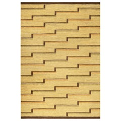 Midcentury Swedish Flat-Weave Rug in Yellow, Orange, Brown and Green