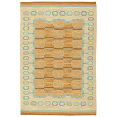 Midcentury Swedish Flat-Weave Rug Signed by AGA in Beige, Blue and Brown