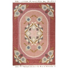 Midcentury Swedish Flat-Weave Rug Signed by Ingegerd Silow in Pink, Blue & Gray