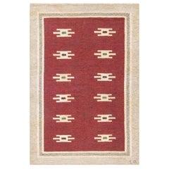Midcentury Swedish Flat-Weave Wool Rug in Deep Burgundy and Beige