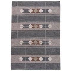Midcentury Swedish Flat-Weave Wool Rug in Gray and Brown