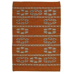 Midcentury Swedish Flat-Weave Wool Rug in Shades of Copper and Light Blue