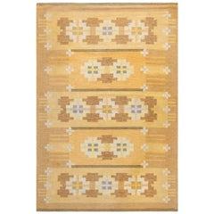 Midcentury Swedish Flat-Weave Wool Rug Signed by Ingegerd Silow