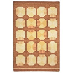 Midcentury Swedish Flat-Woven Rug in Yellow, Orange and Brown