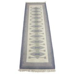 Midcentury Swedish Gallery Flat-Weave Carpet, 1950s