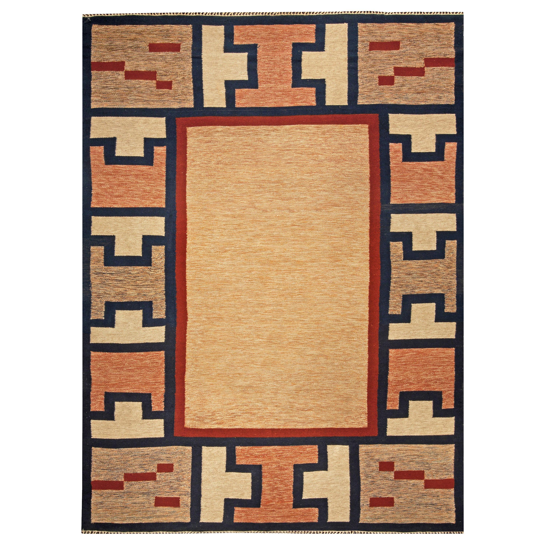 Midcentury Swedish Geometric Beige, Blue, Brown and Red Flat-Woven Wool Rug