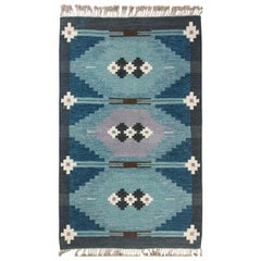Midcentury Swedish Geometric Blue Flat-Woven Wool Rug Signed by Ingegerd Silow