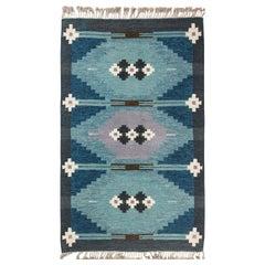 Midcentury Swedish Geometric Blue Flat-Woven Wool Rug Signed by Ingegerd Silow