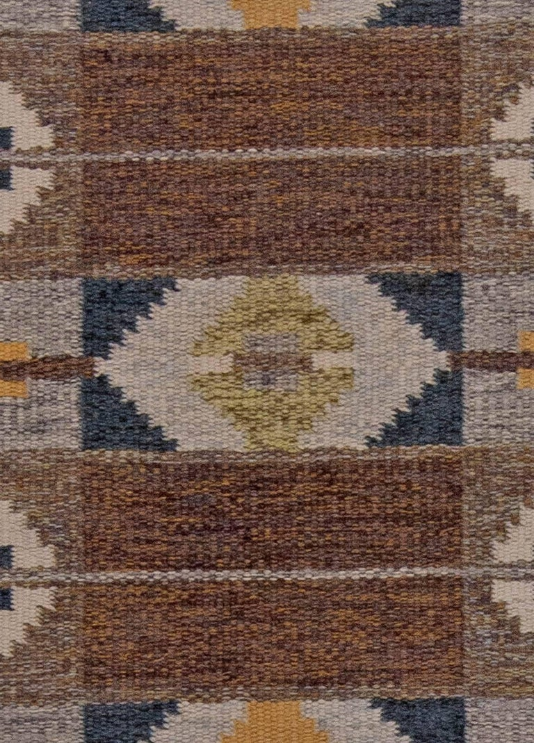 Midcentury Swedish geometric brown and blue flat-weave rug by Ingegerd Silow
