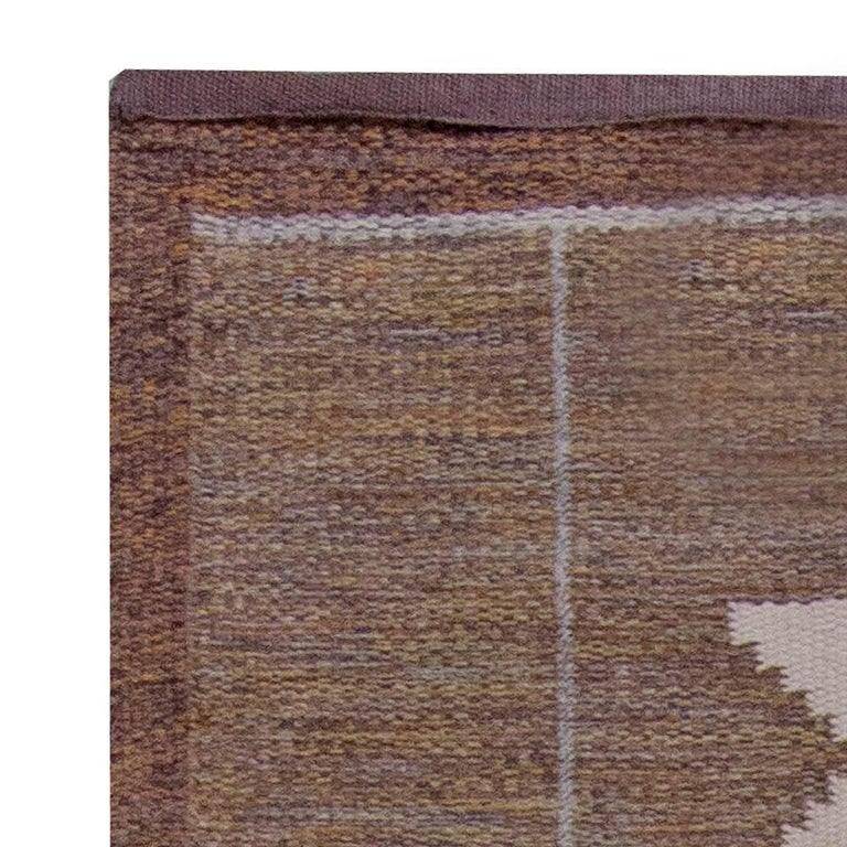 Hand-Woven Midcentury Swedish Geometric Brown and Blue Flat-Weave Rug by Ingegerd Silow For Sale