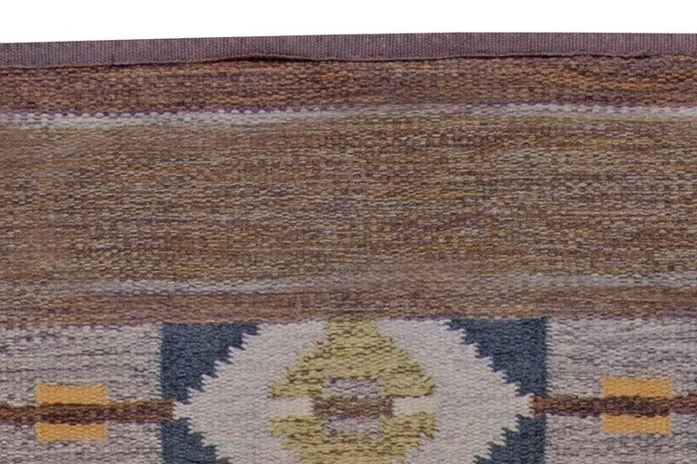 Midcentury Swedish Geometric Brown and Blue Flat-Weave Rug by Ingegerd Silow In Good Condition For Sale In New York, NY