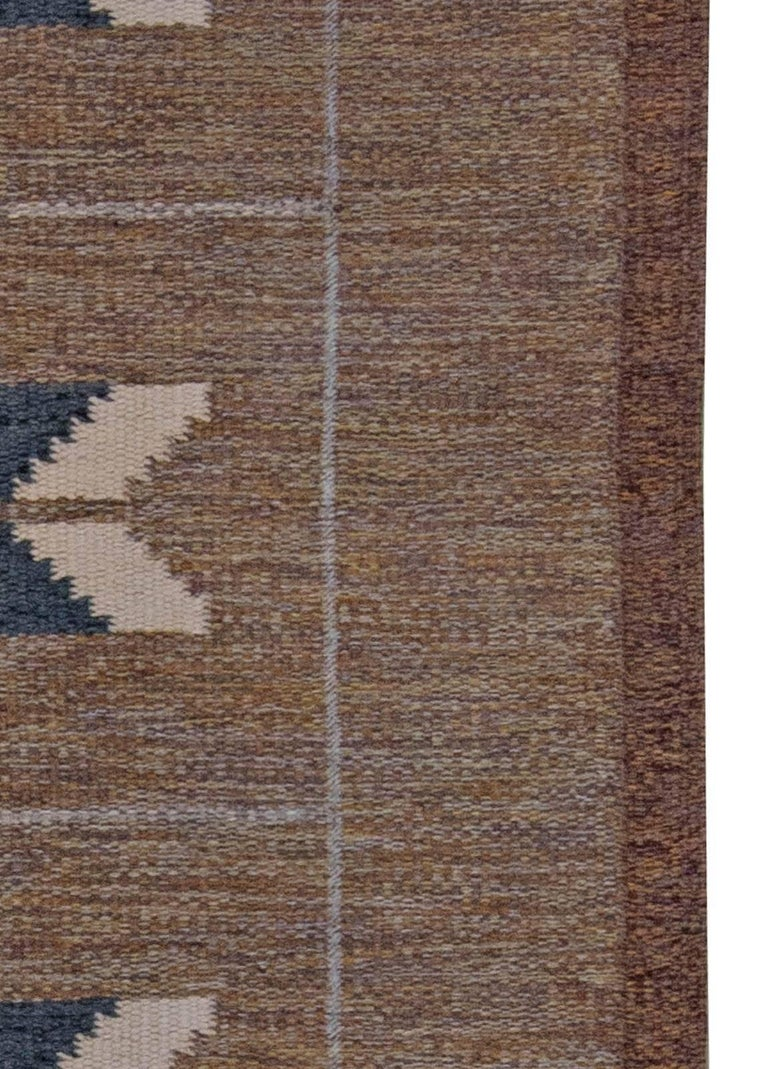 20th Century Midcentury Swedish Geometric Brown and Blue Flat-Weave Rug by Ingegerd Silow For Sale