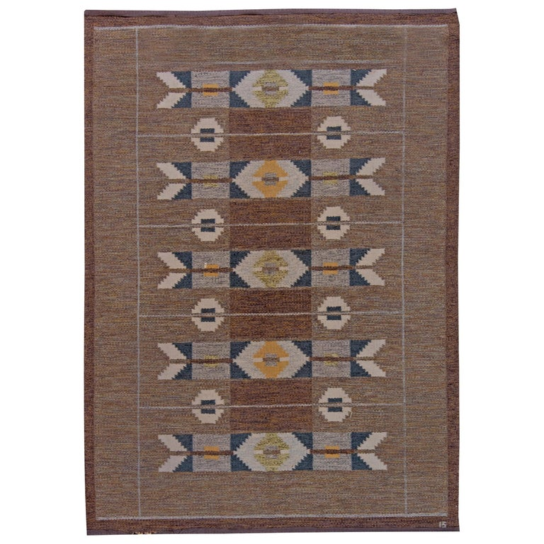 Midcentury Swedish Geometric Brown and Blue Flat-Weave Rug by Ingegerd Silow For Sale