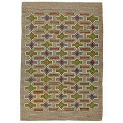 Midcentury Swedish Geometric Flat-Weave Rug by Judith Johansson