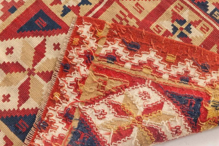 Hand-Knotted Midcentury Swedish Geometric Flat-Weave Rug For Sale