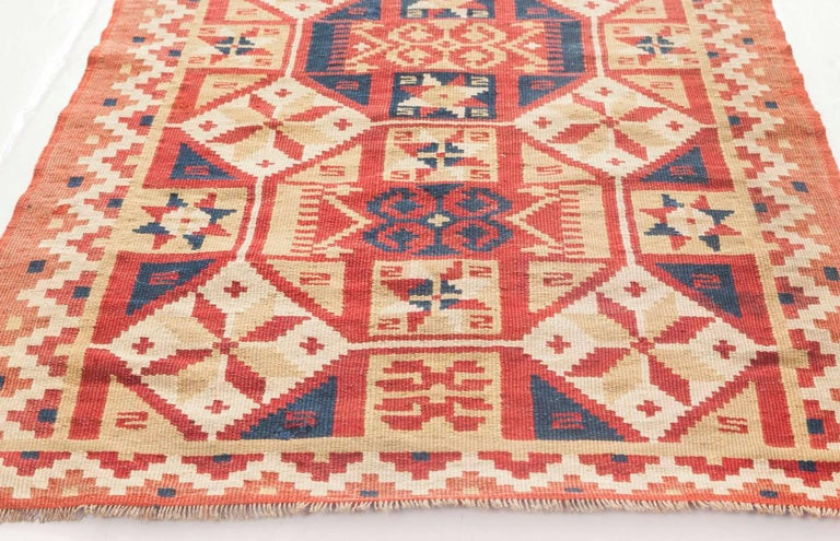 Midcentury Swedish Geometric Flat-Weave Rug In Good Condition For Sale In New York, NY