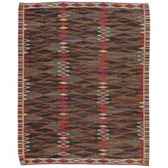 Midcentury Swedish Geometric Flat-Weave Rug in Red, Brown, Blue and White